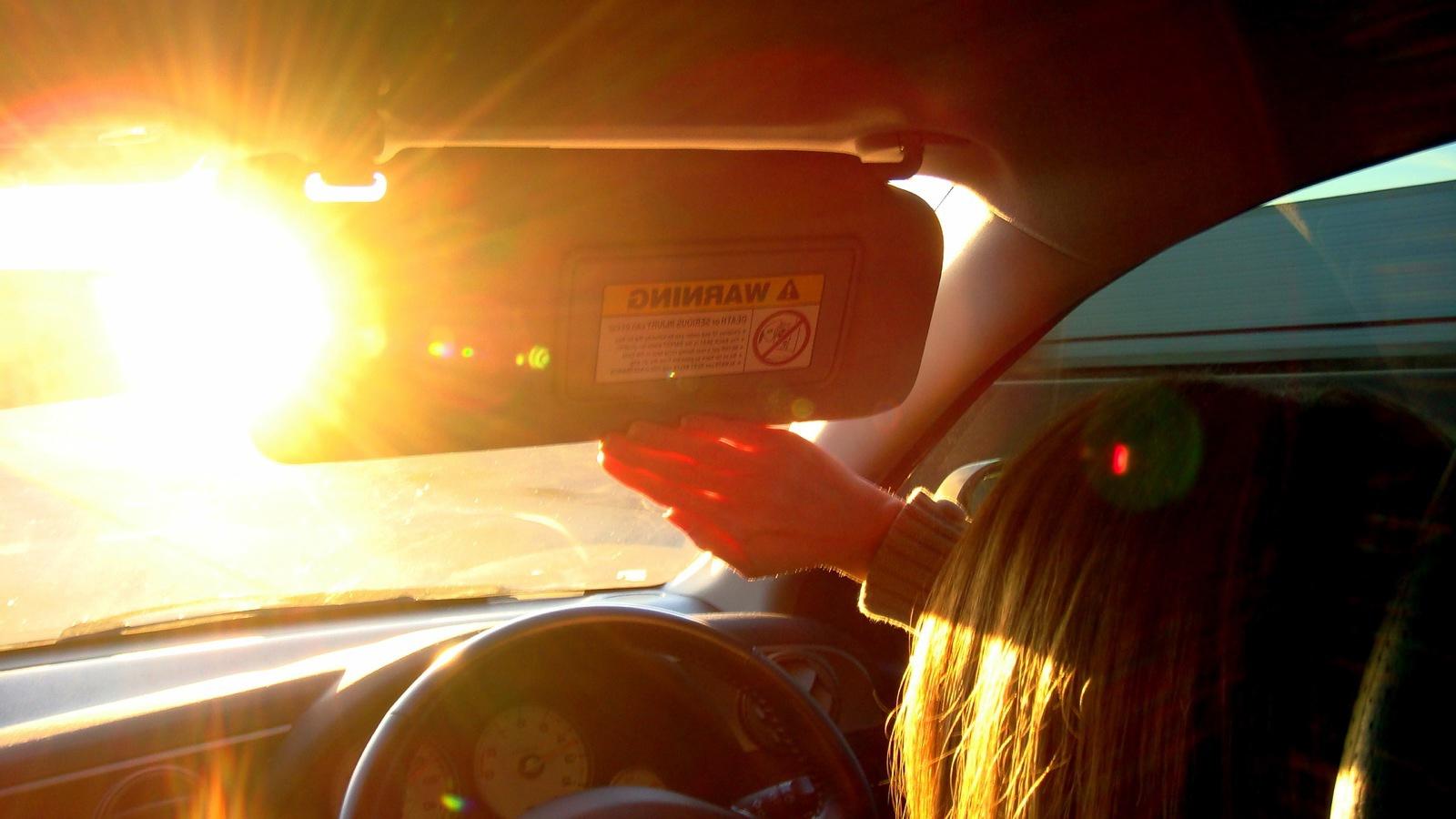 sun glare when driving